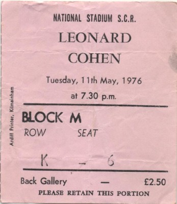 I just found my old ticket stub from 1976, Dublin Stadium!