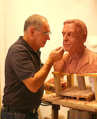 Robert Hitchcock at Work on a Cohen Bust