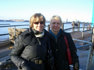 kerstin and elke with ferry approaching in background